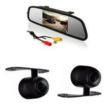 Kit Espelho Retrovisor Monitor Com Câmera De Ré Tela Lcd 4,3 - Oestesom