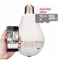 Kit Espiã Câmera Lâmpada Led Wifi IP HD Panorâmica 360º  com Cartão de Memória 16GB - Fisheye