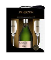 Kit Espumante Panizzon Rose Brut 750 ml + 2 taças -
