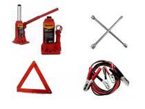 Kit Estepe - Macaco 02 Ton + Triangulo + Chave Roda + Cabo Bateria - Eda