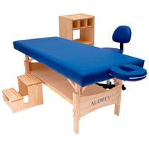 Kit estética: maca fixa plus, carrinho, escadinha e cadeira mocho azul - audrey -