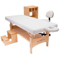 Kit estética: maca fixa plus, carrinho, escadinha e cadeira mocho branca - audrey -
