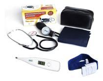 Kit Estetoscópio + Aparelho De Pressão + Garrote + Termômetro G Tech - Premium