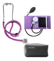 Kit Estetoscopio Duplo + Aparelho De Medir Pressão Arterial Esfigmomanometro + Estojo - P. A. MED