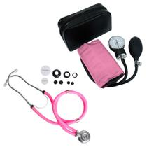 Kit Estetoscópio Rappaport + Aparelho de Pressão Rosa Premium -