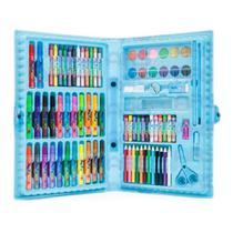 Kit estojo para desenhos Canetinhas e Lápis 86 Peças Azul - Art Zone