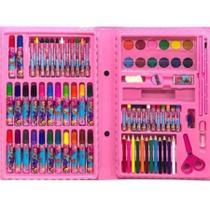 Kit estojo para desenhos com Canetinhas e Lápis 86 Peças Rosa - Art Zone