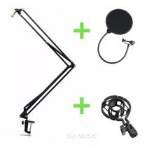 Kit Estúdio Pedestal Suporte de Mesa Articulado Articulável de Microfone + Shock Mount Aranha + Pop Filter Anti Puff - S.A Music