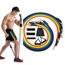 Kit Extensor 11 Peças 5 Elasticos Musculação em Casa Abdominal Academia Exercicio - Mec