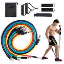 Kit Extensor Elástico 11 Peças Exercício Fitness Pilates - Top Total