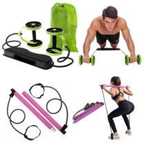 KIt Extensor Elástico Exercícios Funcional para Pilates Ioga + Rodas Abdominal Coxas Glúteos Define Tonifica Fitness - Revoflex Xtreme
