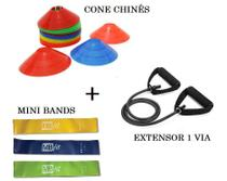Kit Extensor Elastico + Mini Band Tipo Thera Band e Cones - Mb Fit