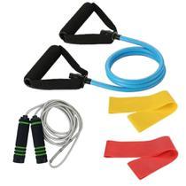 Kit extensor médio + mini bands média e forte + pula corda - Kit Dmxfit