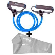 Kit Extensor Uma Via Forte Azul + Miniband Extra Forte Cinza Liveup -