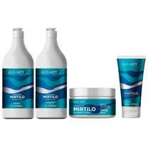 Kit Extrato de Mirtilo Shampoo 1 Lt + Condicionador 1 Lt + Máscara 240g + Leave-in 180ml - Lowell -