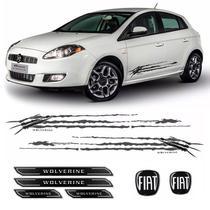 Kit Faixa Bravo Wolverine Grafite + Soleira + Emblemas Fiat - Sportinox