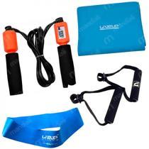 Kit Faixa Elastica Forte + Pegador + Corda de Pular + Mini Band Forte  Liveup -