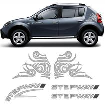 Kit Faixas Sandero Stepway 2008/2011 + Adesivo Tribal Prata - SPORTINOX