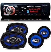 Kit Falante 6x9 + 6 Pol + Toca Radio Carro Mp3 Player Usb Bluetooth - Tiger Auto