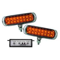 Kit Farol Auxiliar Estrobo Âmbar Autopoli Retangular Capa cromada 12V / 24V 16 LEDs - 9 Efeitos -