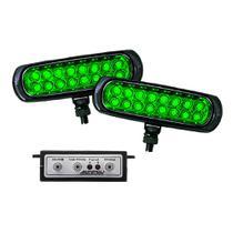 Kit Farol Auxiliar Estrobo Verde Autopoli Retangular Capa Preta 12V / 24V 16 LEDs - 9 Efeitos -