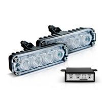 Kit Farol Auxiliar POWER LED SLIM Bivolt VERMELHO Com Módulo de Controle de 9 Efeitos - Autopoli