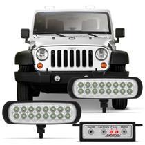 Kit Farol de Milha Auxiliar 3 em 1 Slim Universal 16 LEDs 12V 24V Luz Branca Original Autopoli -