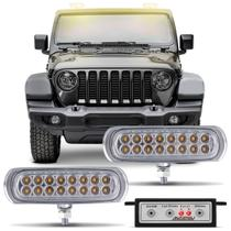 Kit Farol de Milha Auxiliar 3 em 1 Slim Universal 16 LEDs 12V Luz Amarela Autopoli -