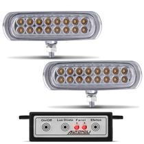 Kit Farol de Milha Auxiliar 3 em 1 Slim Universal 16 LEDs 12V Luz Amarela Original Autopoli -