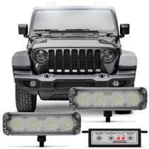 Kit Farol de Milha Auxiliar Universal 4 LEDs 12V Strobo Safety Car 9 Efeitos Autopoli -