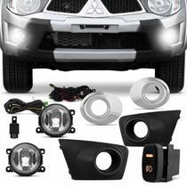 Kit Farol de Milha L200 Triton 2011 2012 2013 Com Moldura Auxiliar Neblina - Shocklight