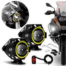 Kit Farol de Milha LED Moto Universal Angel Eyes U7 6000K 20W Luz Branca Farol Alto Baixo com Botão - Prime