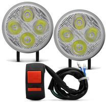 Kit Farol De Milha Moto LED Universal Redondo 4 LEDs 80W 12000 Lumens 12V Com Botão Liga Desliga - St