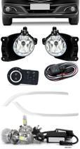 Kit Farol de Milha Neblina Chevrolet Novo Prisma Onix LT LTZ 2013 á 2015 + Friso Cromo + Kit LED 6000K - Suns / Zapos / Tiger / Shocklight
