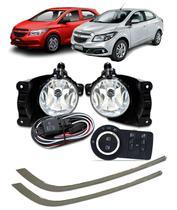 Kit Farol de Milha Neblina Chevrolet Novo Prisma / Onix LT / LTZ 2013 á 2015  Interruptor Mod. Original + Friso Cromo - Suns