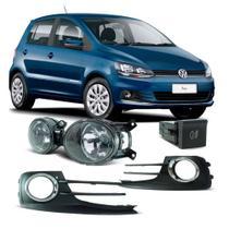 Kit Farol de Milha VW Fox 2015 em diante Botão Modelo Original Painel Grade com Aro Cromado - Shocklight