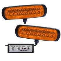 Kit Farol Estrobo Âmbar Autopoli Retangular Capa preta 12V / 24V 16 LEDs - 9 Efeitos -