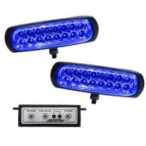 Kit Farol Estrobo Azul Autopoli Retangular Capa preta 12V / 24V 16 LEDs - 9 Efeitos -