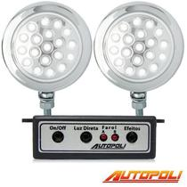 Kit Farol Milha Autopoli Ap813 Strobo Safetycar 19 Leds Luz cor Super Branco -