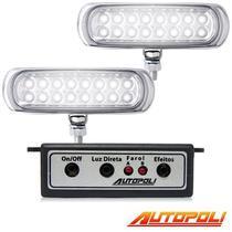 Kit Farol Milha Autopoli Ap960 Strobo Safetycar 16 Leds Luz cor Super Branco -
