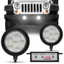 Kit Farol Milha Auxiliar Autopoli Redondo Universal Strobo Safety Car Leds Super Branco -