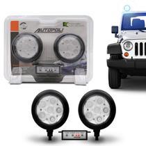Kit Farol Milha Auxiliar Redondo 3 em 1 Slim Universal 6 LEDs 12V 24V Azul com Módulo de Controle - Autopoli
