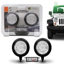 Kit Farol Milha Auxiliar Redondo 3 em 1 Slim Universal 6 LEDs 12V 24V Verde com Módulo Controle - Autopoli