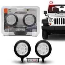 Kit Farol Milha Auxiliar Redondo 3 em 1 Slim Universal 6 LEDs 12V 24V Vermelho com Módulo Controle - Autopoli