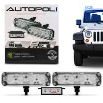 Kit Farol Milha Auxiliar Retangular 3 em 1 Power LED Slim Universal 4 LEDs 12V Azul com Controle - Autopoli
