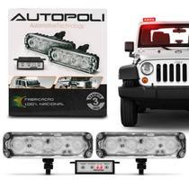Kit Farol Milha Auxiliar Retangular 3 em 1 Power LED Slim Universal 4 LEDs 12V Vermelho com Controle - Autopoli