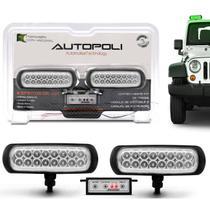 Kit Farol Milha Auxiliar Retangular 3 em 1 Slim Universal 16 LEDs 12V 24V Verde Módulo de Controle - Autopoli