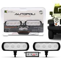 Kit Farol Milha Auxiliar Retangular 3 em 1 Slim Universal 4 LEDs 12V 4W Âmbar com Módulo de Controle - Autopoli