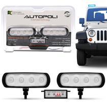 Kit Farol Milha Auxiliar Retangular 3 em 1 Slim Universal 4 LEDs 12V 4W Azul com Módulo de Controle - Autopoli