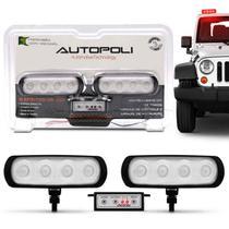 Kit Farol Milha Auxiliar Retangular 3 em 1 Slim Universal 4 LEDs 12V 4W Vermelho Módulo de Controle - Autopoli